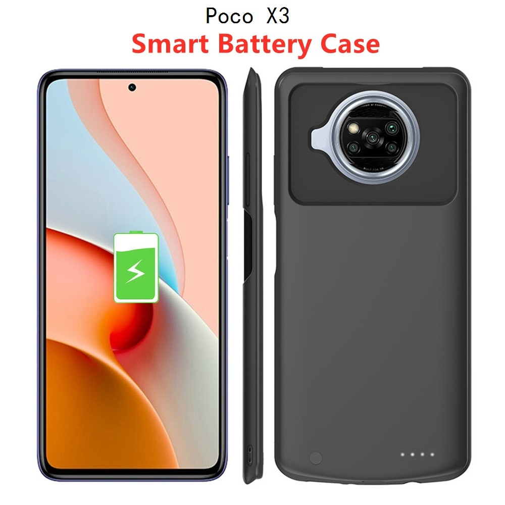 Battery Charger Cases For Xiaomi Poco X3 NFC Power bank Portable Silm Silicone Shockproof External B