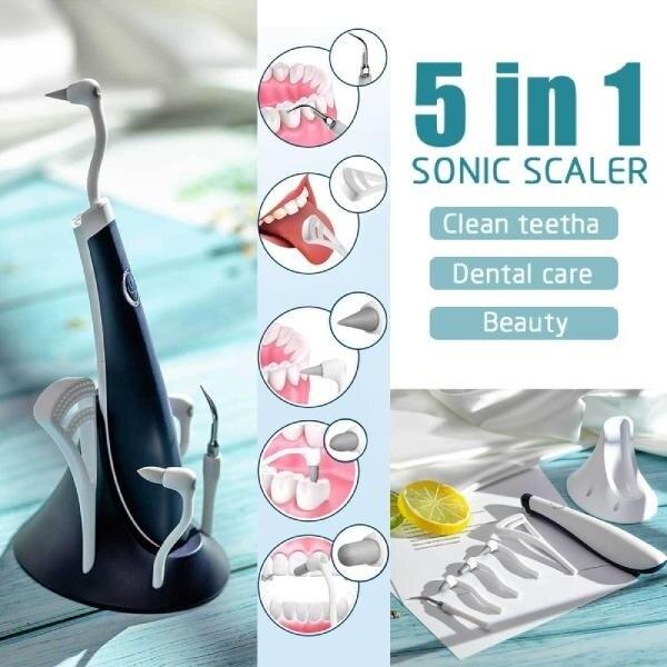 5 в 1 Электрический звуковой зубной очиститель высокочастотный Вибрационный пятнистый зубной налет для удаления зубного налета отбеливающий скалер