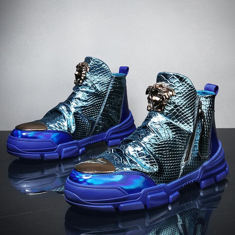 Sola de proteção masculina sapatos casuais para homem tênis durável outsole trainer outono colorido peixe escala mid-top sapatos casuais