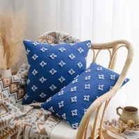 inyahome blue tassel cushion cover flower jacquard throw pillow covers boho macrame pillow case for sofa bed living room