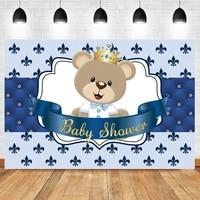 laeacco baby shower photo background cartoon bear blue headboard texture personalized newborn photogrphy backdrop photo studio