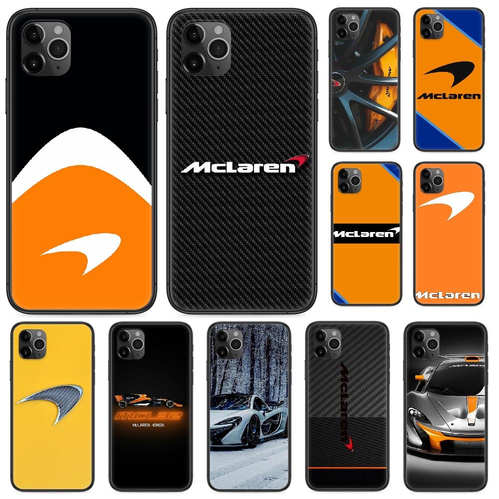 McLaren del teléfono del logotipo del coche para iphone 4 4s 5 5S SE 5C 6S 6 7 8 plus X XS X XR 11 PRO MAX 2020 negro primer moda funda 3D parachoques