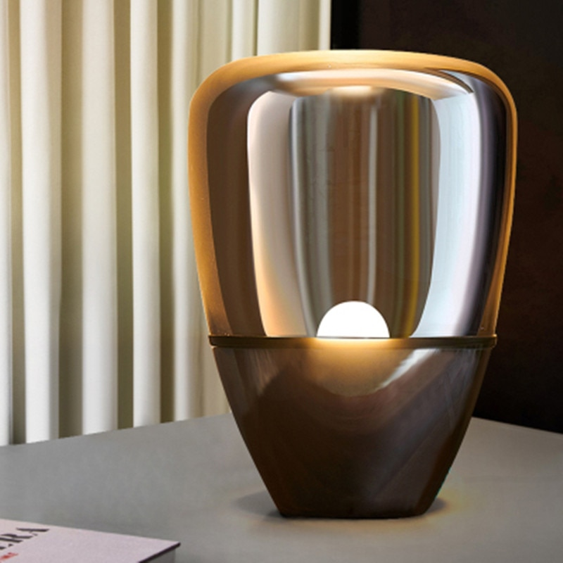 Lámpara de mesa de cristal Led moderna lámpara de escritorio de huevo de dinosaurio Luz de mesa de estudio de lectura para la mesita de noche de dormitorio de oficina iluminación nórdica para el hogar E27