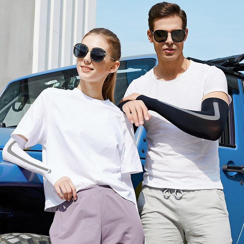 Protector solar UV de seda fría de manga larga de verano para hombres, deportes para mujeres, Pulgar al aire libre, conducción en bicicleta, protección para brazos mangas cálidas UV