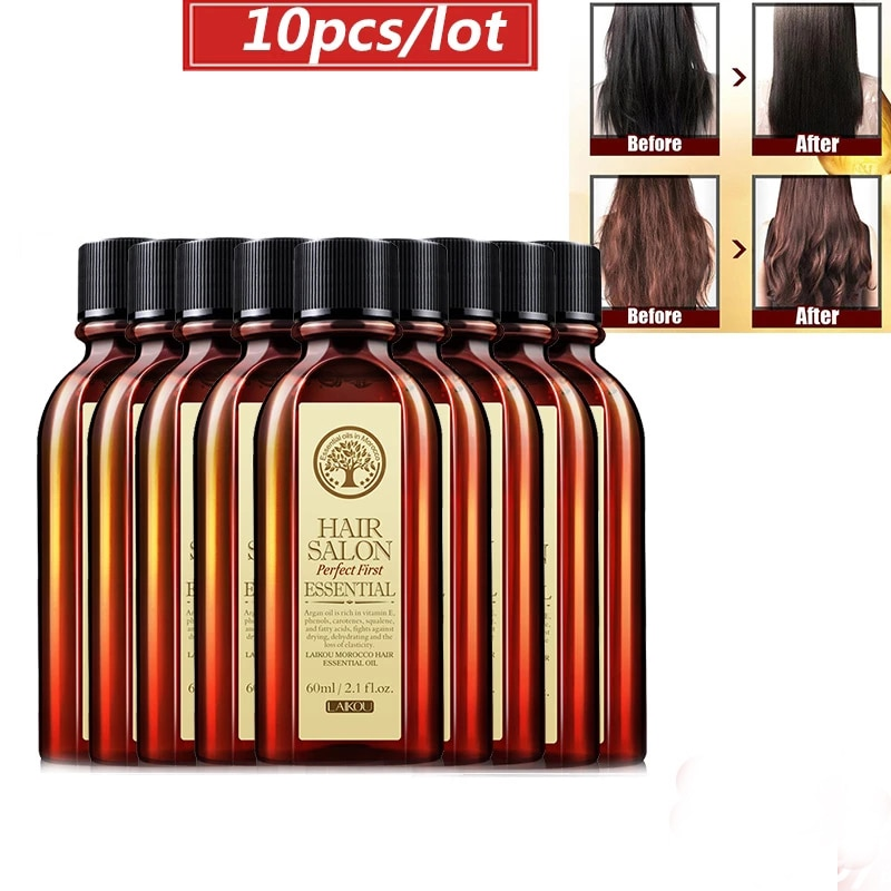 10pcs Pure Moroccan Argan Oil Care Hair & Scalp Treatment Moisturizing Hair Easily Absorbed Oils Increase The Gloss Repair Hair