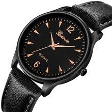 Luxury Geneva Ultra Thin Men Watch Faux Leather Black Grown Watches Blue Ray Glass Quartz Analog Wri