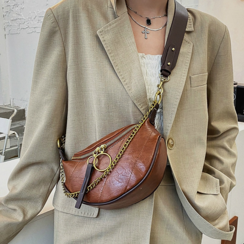 SWDF 2021 Women Famous Brand Female Chain Bags Women Fahsion V-line Black Waist Bag PU Leather Crossbody Chest HandBag