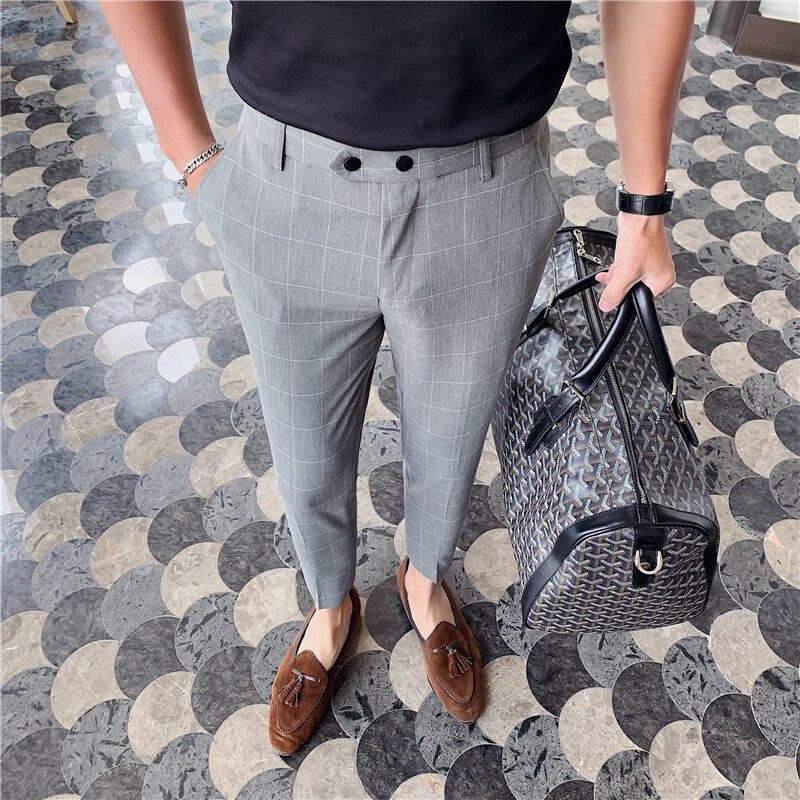 Британский стиль, мужской костюм, брюки, мода 2020, весна-лето, деловые клетчатые брюки, мужские облегающие офисные брюки длиной до щиколотки, ...