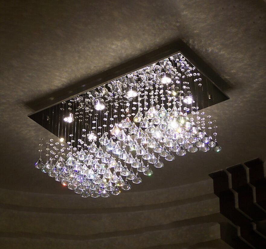 Haixiang forma de diamante cristal iluminação da sala jantar lustre gotas pendnagt luz