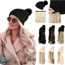 SHANGZI-peluca ondulada larga sintética con boina, sombrero tejido a la moda, negro, otoño e invierno, extensiones de cabello, 2021