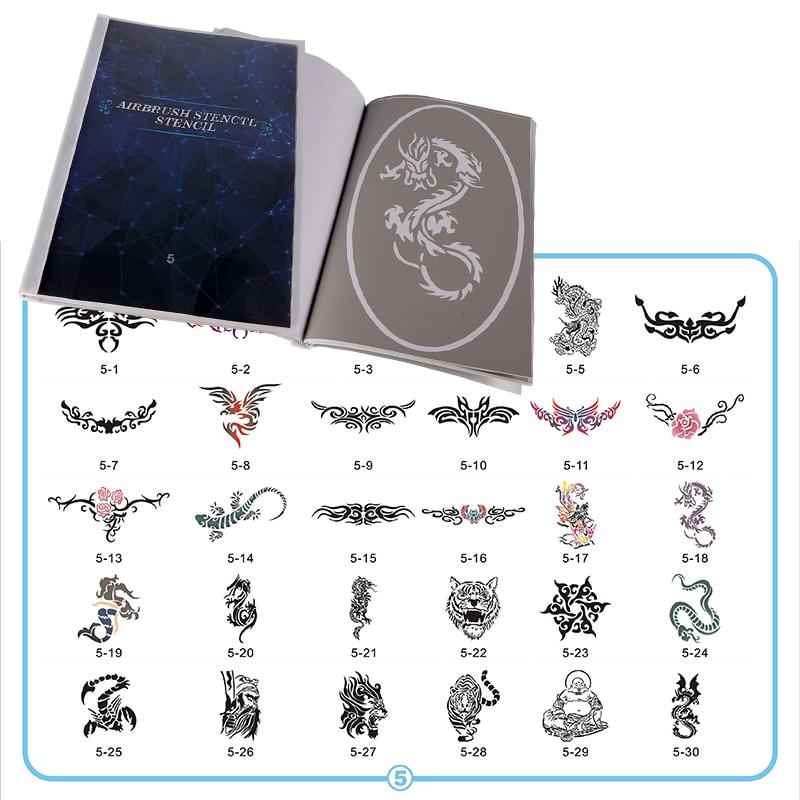 Pochoir de carnet de tatouage avec brosse à air   Livre 5, pochoir réutilisable de 100 pièces, images en livres, pochoir de tatouage temporaire, en papier, pour femmes et filles