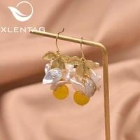 xlentag handmade natural fresh water pearl beeswax dangle earrings for women leaf drop earrings jewelry bijoux en argent ge0618