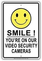 smile youre on our video cameras cctv surveillance retro metal tin sign plaque poster wall decor art shabby chic gift