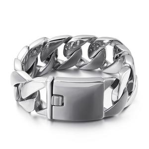 Man Jewelry 24mm High Polished Big Chunky Curb Cuban Bracelet Men Stainless Steel 316L Gold/Silver Color Trendy Bracelets JB3177