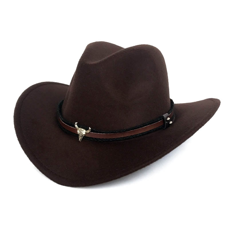 Fibonacci West Cowboy-Hut Mode Nachahmung Wolle Filz Metall Bull Kopf Dekoration Sombrero Westliche Männer Frauen Kappe