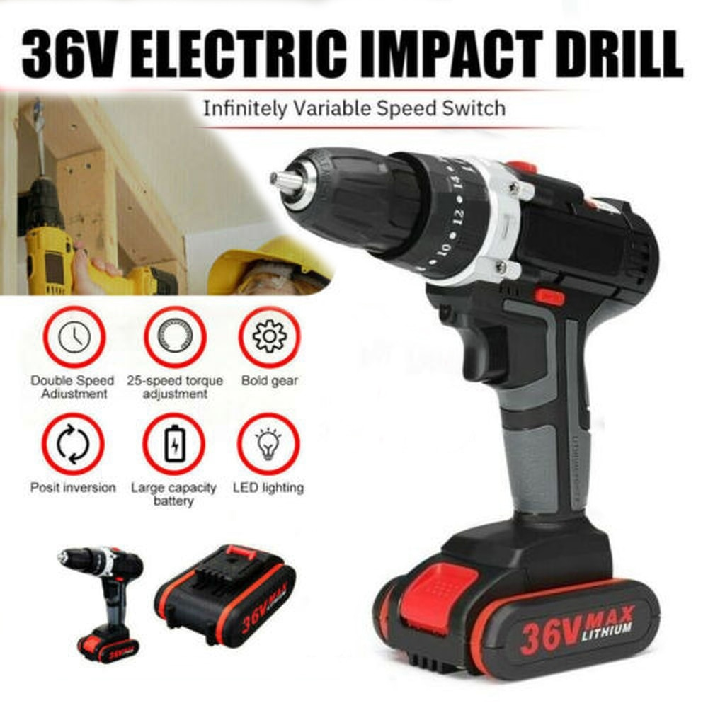 Tools 36V Electric Impact Drill 25+3 Torque Stage Cordless Drill Wrench Wireless Electric Drill Set with LED 2 Speeds +Battery