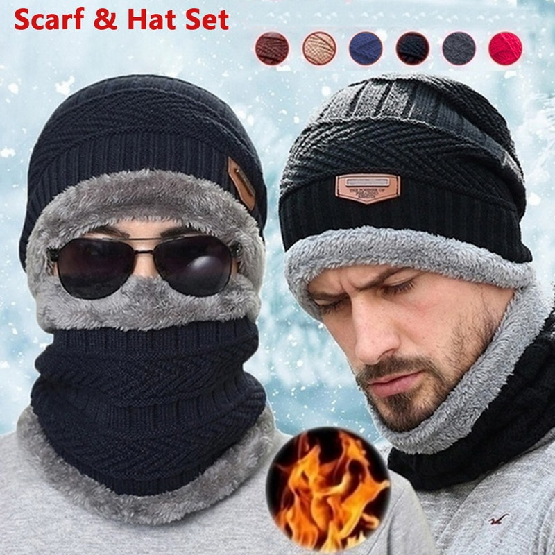 Coral Fleece Balaclava Winter Hat Beanies Unisex Hats Scarf Warm Breathable Wool Knitted Hat For Boy