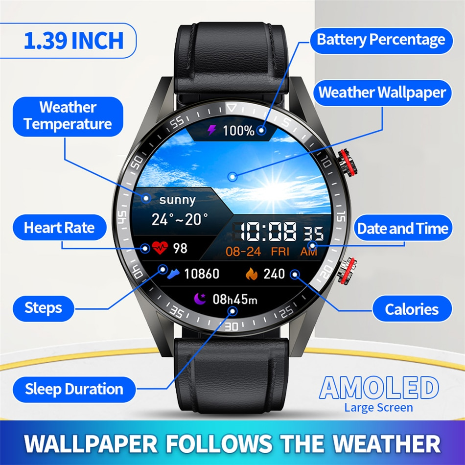 New 454*454 Screen Smart Watch Men's Always Display The Time Bluetooth Call Local Music Smartwatch For Huawei Xiaomi Phone 2021