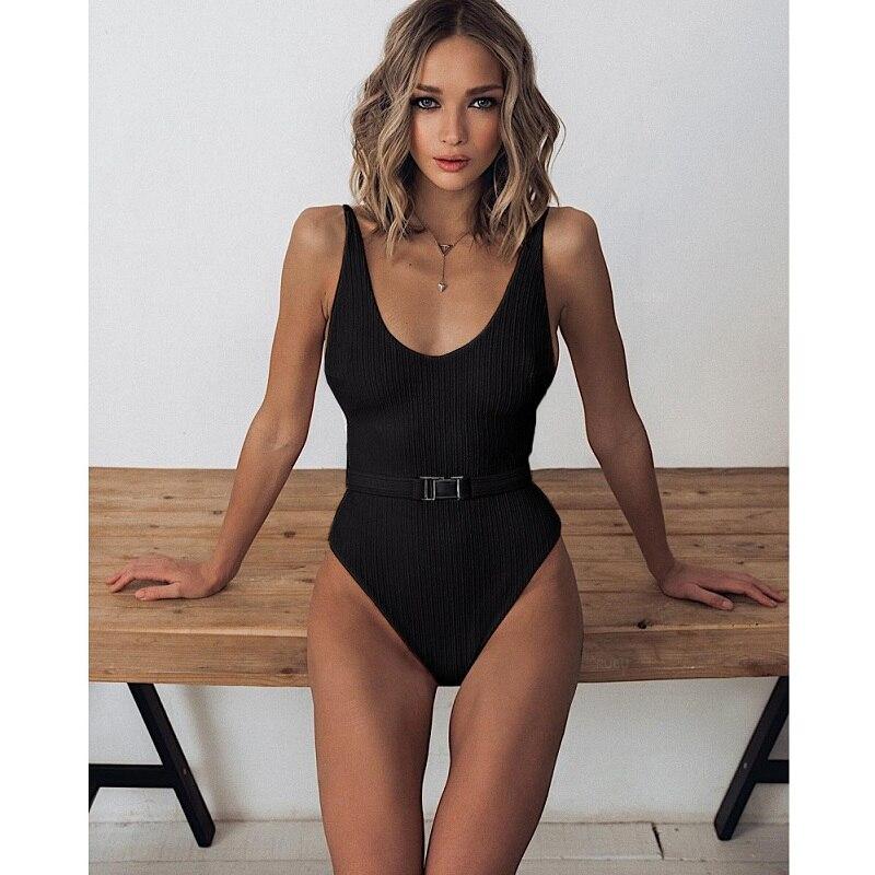 Sexy One Piece Swimsuit Women Swimwear Buckle Black Bodysuit Ladies Push Up Monokini Beachwear High Cut Swimming Bathing Suits
