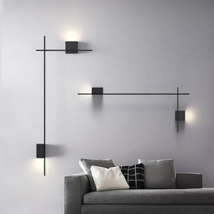 LED Creative Long Strip Wall Lamp Nordic Iron Bedroom Bedside Minimalist Staircase Aisle Kitchen Living Room Background Lighting
