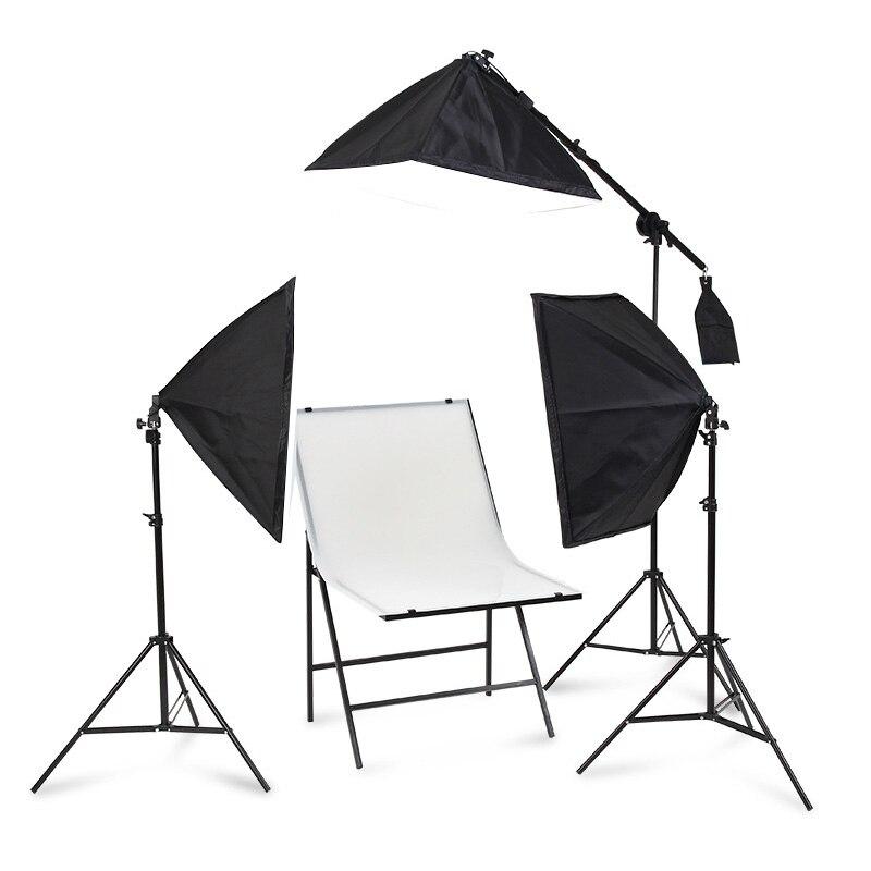 Fotografia de iluminação 50x70 cm três lâmpada softbox kit titular com 80 w pode ser escurecido lâmpada softbox acessórios para photo studio vídeo