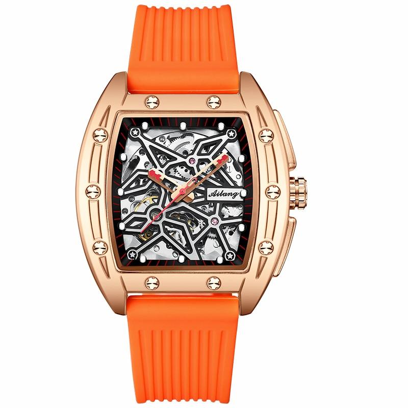 The new AILANG men's watch hollow luminous high-end wine barrel-shaped men's automatic mechanical watch