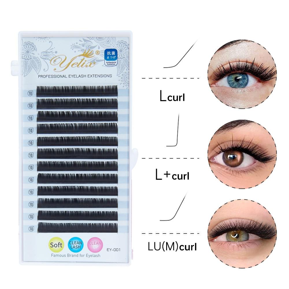Yelix L Curl Lash Extension 8-15mm MIX Matte Mink Eyelashes Extension  Individual Eyelashes L+/LU/M Curl Makeup false Lashes недорого