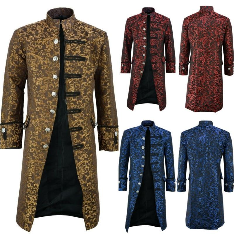 Европейский средневековый рыцарь Косплей Warlord куртки для мужчин благородный принц пальто дворец вечерние сцены DJ певец ночной клуб стимпанк костюм
