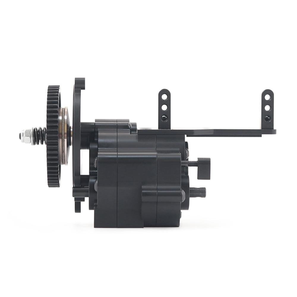 2 Speed Hi/Lo Transmission Box Metal Transfer Gearbox w/ Servo Mount for 1/10 RC Crawler Axial Yeti 90050 90025 RR10 90048 90053 enlarge
