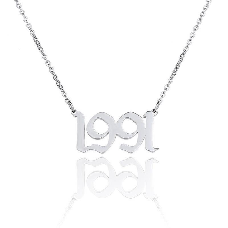 """Novo aço inoxidável colar ano prata cor número mensagem """"1991""""-""""2000"""" conector oco jóias presente 45cm de comprimento, 1 pc"""