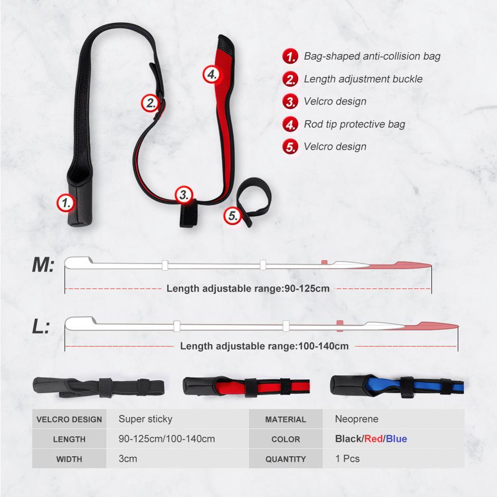 Noeby Spinning Casting Fishing Rod Holder 90-140cm Rope Protection Belt Strap Tackle Adjustable Length Pole Rods Storage Bag enlarge