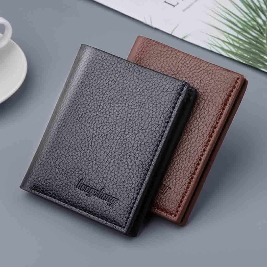 2020 billeteras negras de lujo para hombre, tarjetero de cuero para hombre, billetera fina para tarjetas, funda protectora para identificación, tarjetero