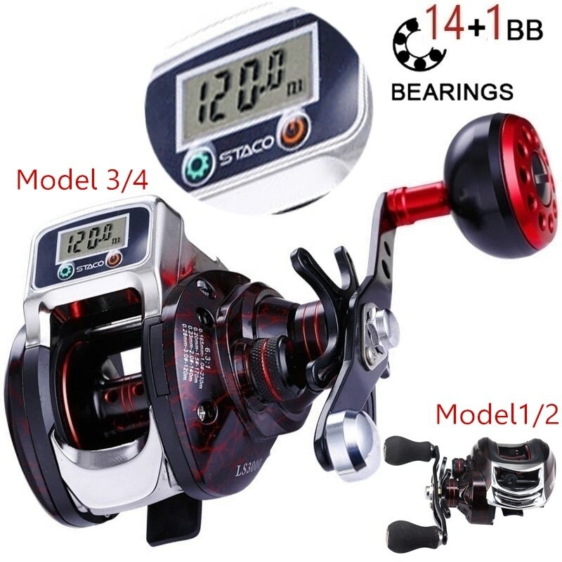 14+1 BB Ball Bearing 6.3:1 Digital Display Bait Casting Baitcasting Reel Left/Right Hand Fishing Line Counter Fishing Reel