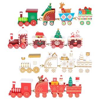 4pcs Mini Christmas Decoration Wooden Train toy Home Decor Christmas Gift Kids Baby Toys Vehicles Children  Wooden Train Xmas