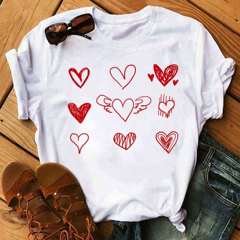 Red Heart Print T Shirt Fashion Women T Shirt Love T-shirt Summer Tops Female Short Sleeve Tee Shirts Ladies Graphic Cute Tshirt print t shirt women tee tops fashion summer women tshirt casual short sleeve female tshirt harajuku cow dot print basic t shirt