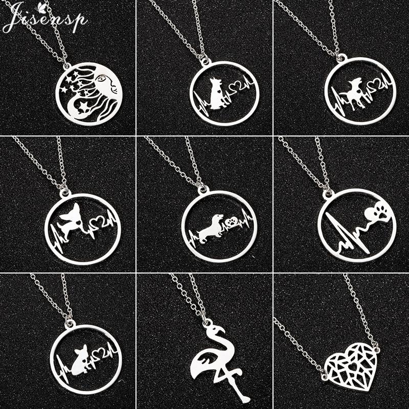 Jisensp милое ожерелье с подвеской для собак для женщин из нержавеющей стали сердцебиение щенка французского бульдога ожерелья ювелирные изде...