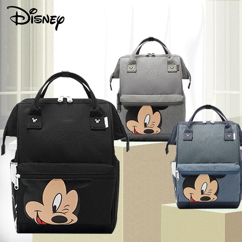 Disney Mickey Minnie bolsa de pañales de moda momia bolsa de pañales de maternidad de gran capacidad bolsas de bebé para mamá bolsa húmeda multifuncional pañal