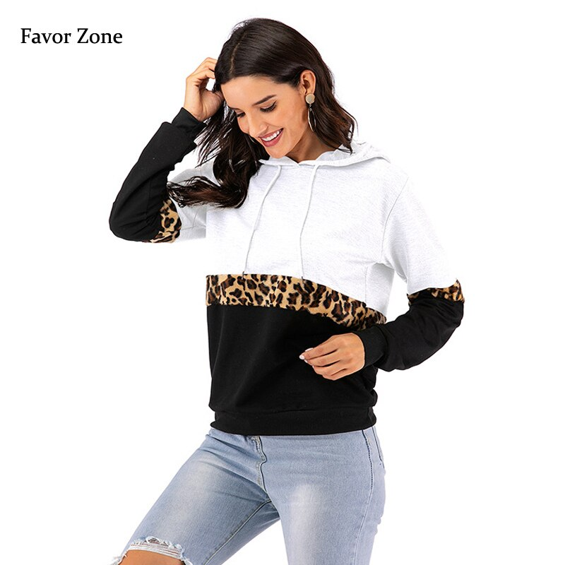 Fashion Leopard Patchwork Women Hoodies Sweatshirt Long Sleeve Hooded Pullover Autumn Winter Casual Female Warm Tracksuit Tops