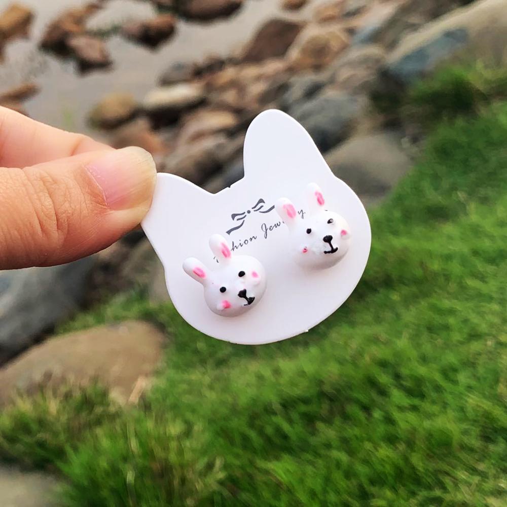 1pair 13mm Cute Cartoon Mini Resin Rabbit Kawaii Stud Earrings For Women Jewelry Fashion Birthday Gifts