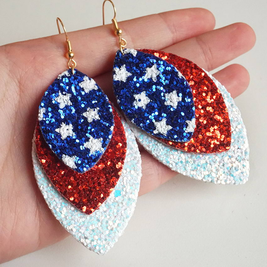 Triple Layered Glitter Leather Marquise Earrings Oval Red White Blue Mixed Color Independence Memorial Day Earrings Accessories