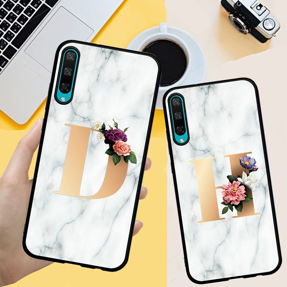 Custom name Letter Monogram Marble FUNDA Phone Case For Huawei Honor 20 Pro V20 10i  20i 8S 8A 8X 8C 9X Back cover Silicone