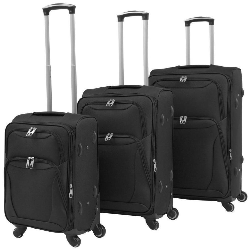 【USA Warehouse】3 Piece Soft Case Trolley Set Black