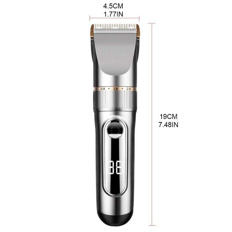Rechargeable LCD Digital Display Hair Trimmer Waterproof Hair Clippers Low Noise enlarge