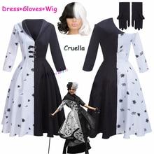 2021 New Movie Evil Madame Cruella De Vil Costume Women Cosplay Gown Black White Maid Dress Halloween Party Fancy Dress Wig