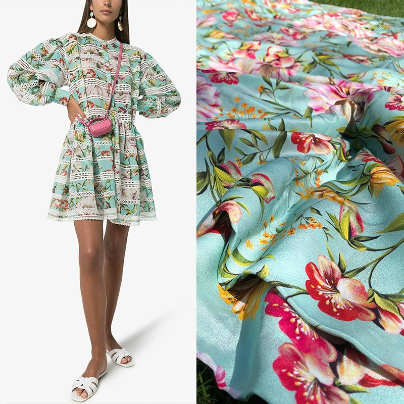 110 см широкий бренд 12 мм Шелковый крепдешин Тутовый зеленый цветок шелковая юбка от кутюр ткань для одежды с принтом