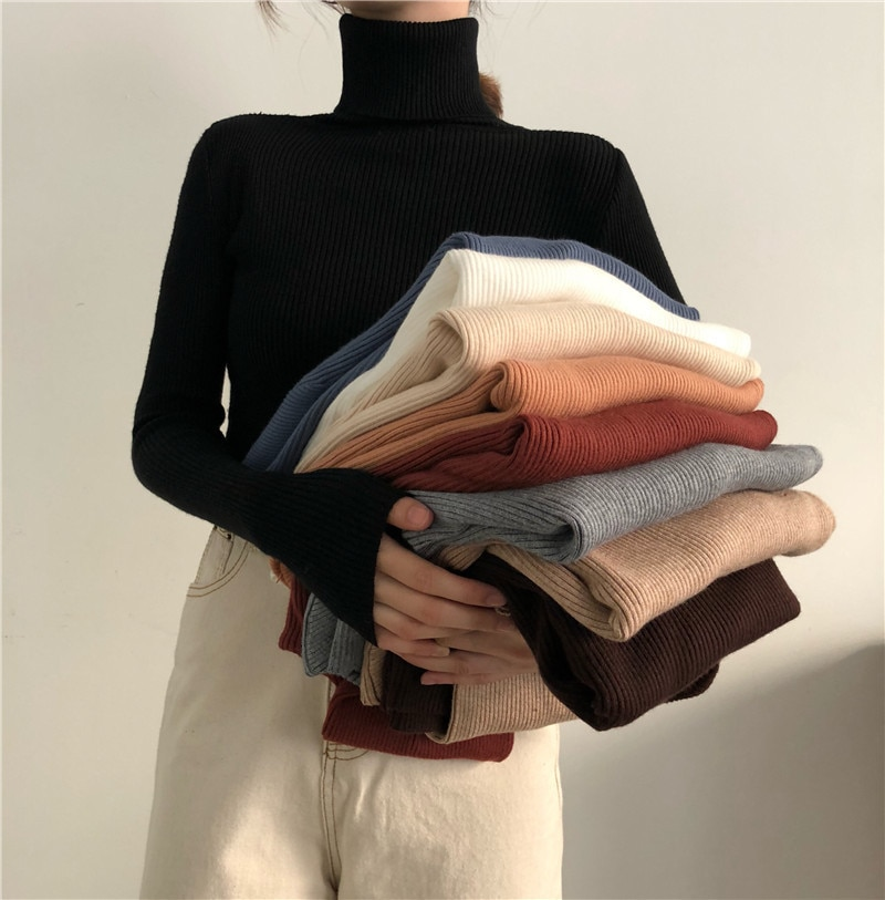 Women Turtleneck Sweaters Autumn Winter Korean Slim Pullover Women Basic Tops Casual Soft Knit Sweater Soft Warm Jumper