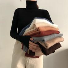 Suéteres de cuello alto para mujer, Jersey ajustado coreano, Tops básicos informales, suéter de punto suave y cálido, Otoño e Invierno