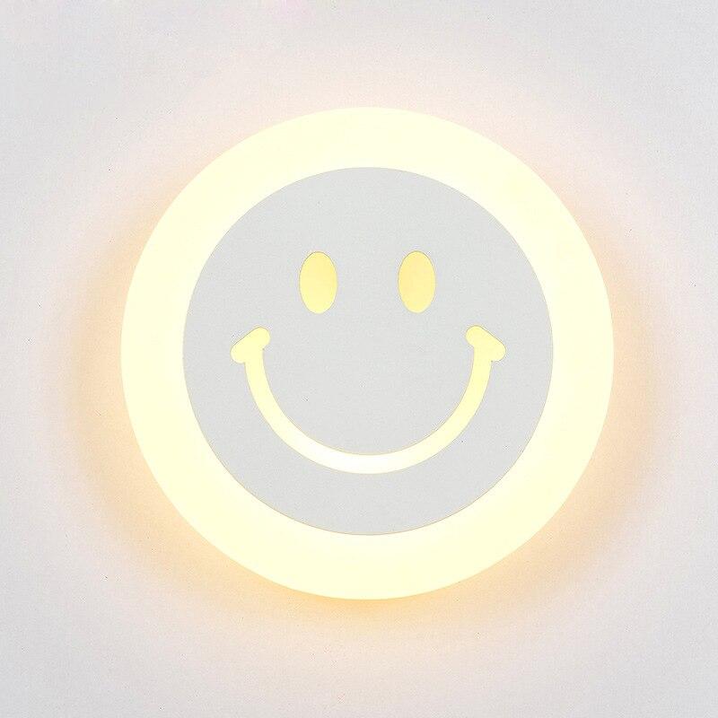 Creativa lámpara LED de pared con cara sonriente para habitación de niños, lámpara de pared con mesita de noche de dibujos animados, lámpara Ultra fina de acrílico para porche, pasillo, cama y habitación