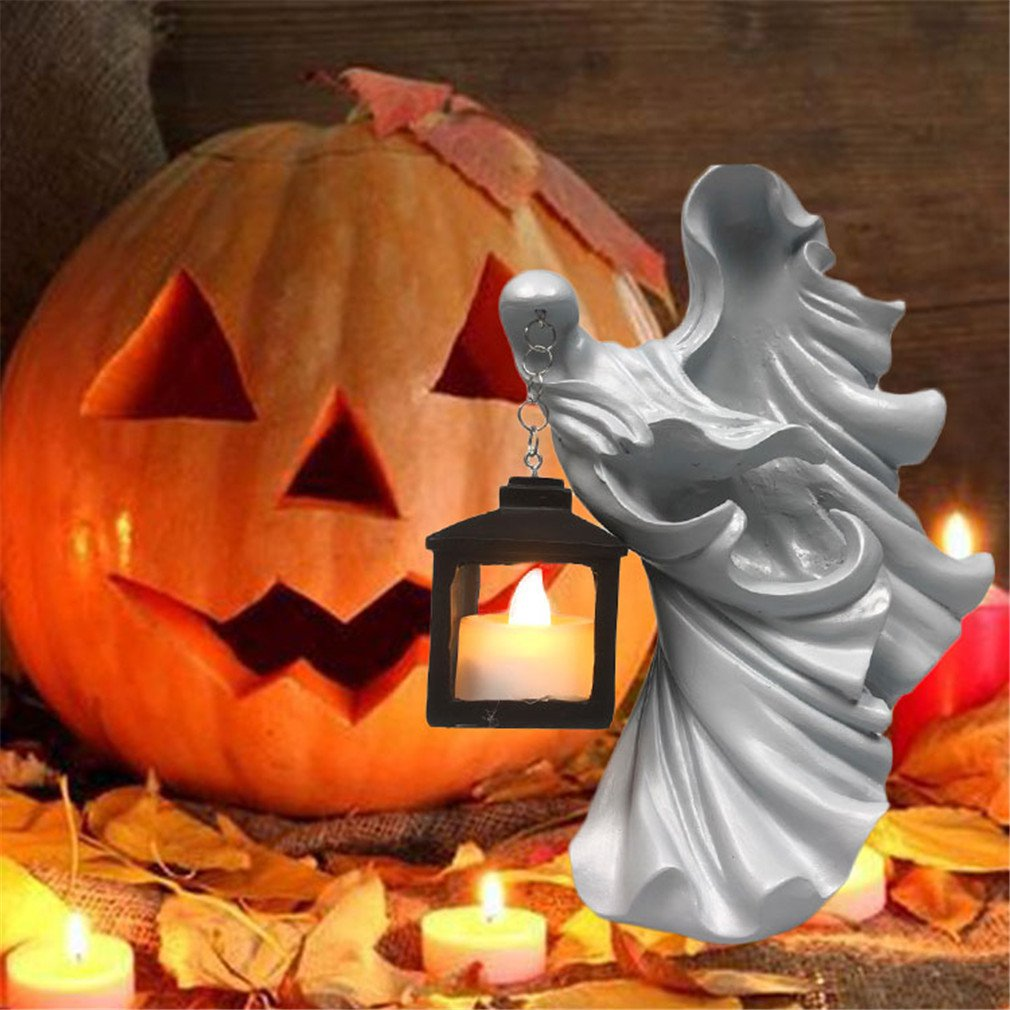 Hell's Messenger With Lantern The Ghost Looking For Light Witch Decoration Lantern Realistic Resin Ghost Sculpture Waterproof