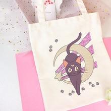 Marin lune Anime mignon chat impression sacs à bandoulière Harajuku beau sac à main nouveau Vogue sac de messager grand Ulzzang femmes sac portefeuille